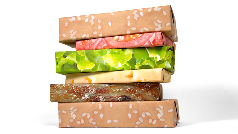 hamburger wrapping paper When presents are wrapped in this deliciously ingenious wrapping paper and properly stacked, they will come together as one giant tasty cheeseburger.