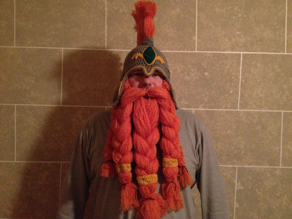 Crocheted Viking Dwarf Hat with Beard | The Geeky Hostess