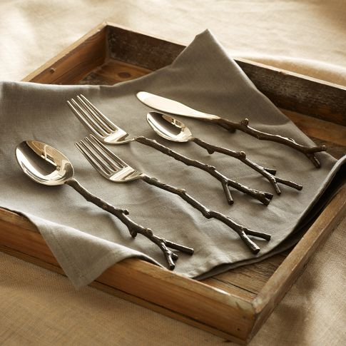 This Flatware Is Gorgeous And Looks And Feels Like Twigs. It Would Be Right  At Home In A Cabin Hidden In An Enchanted Forest. $39 For A 5 Piece Set.
